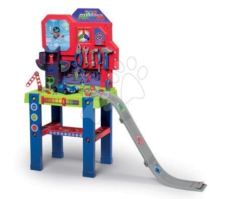 Bancă de lucru PJ Mask Smoby cu mașinuță de jucărie cu rampă de lansare și 94 de accesorii