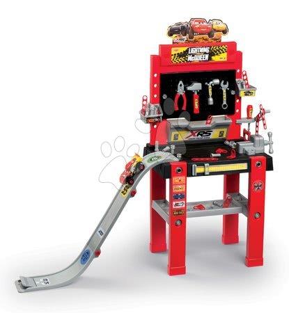 Pracovní dětská dílna - Pracovní dílna se skákajícím autem Flash McQueen Cars XRS Smoby s rampou a 94 doplňků