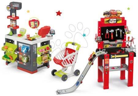 Set pracovná dielňa so skákajucou rampou Cars 3 Smoby a obchod Supermarket s elektronickou pokladňou