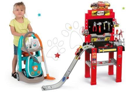 Cars - Set pracovní dílna se skákající rampou Cars 3 Smoby a úklidový vozík s elektronickým vysavačem