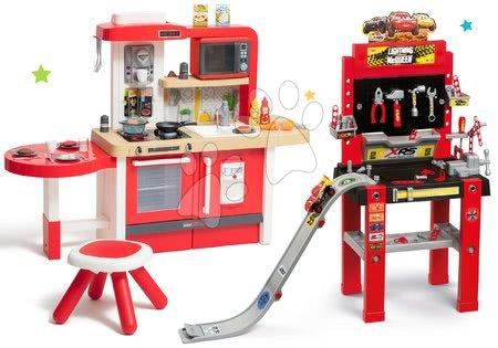 Komplet delavnica s skskalnico Cars 3 Smoby in kuhinja Tefal Evolutive Grand Chef z mikrovalovko in stolčkom