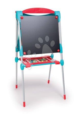 Kreativne i didaktičke igračke - Školska magnetna ploča Smoby obostrana s metalnom konstrukcijom, policom i 59 dodataka tirkizno-crvena_1