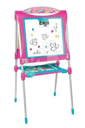 Kreativne i didaktičke igračke - Školska ploča za igru magnetna Smoby obostrana, s policom i metalnom konstrukcijom s 59 dodataka ružičasto-plava