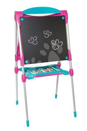Kreativne i didaktičke igračke - Školska ploča za igru magnetna Smoby obostrana, s policom i metalnom konstrukcijom s 59 dodataka ružičasto-plava_1