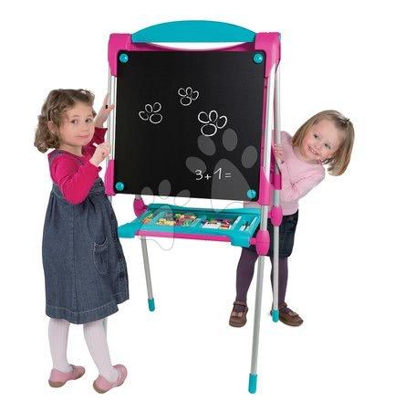Kreativne i didaktičke igračke - Magnetna ploča za crtanje Smoby 125 cm visoka s policom i 128 dodataka ružičasta_1