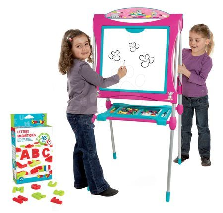 Kreativne i didaktičke igračke - Magnetna ploča za crtanje Smoby 125 cm visoka s policom i 128 dodataka ružičasta