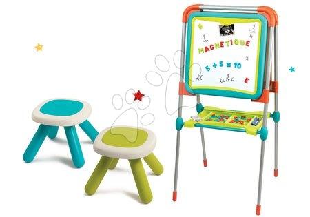 Komplet tabla za risanje in magnetki Ultimate Board Smoby dvostranska zložljiva in dva stolčka Kid