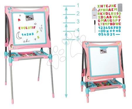 Magnetická a kreslicí tabule se skříňkou Smoby výškově nastavitelná 80-125 cm a 128 doplňků růžová