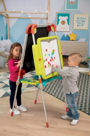 Kreativne i didaktičke igračke - Ploča za crtanje i magneti Evolutiv Board Smoby prilagodljive visine obostrana s prostorom za odlaganje i 80 dodataka_1