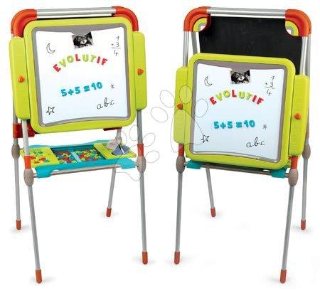 Kreativne i didaktičke igračke - Ploča za crtanje i magneti Evolutiv Board Smoby prilagodljive visine obostrana s prostorom za odlaganje i 80 dodataka