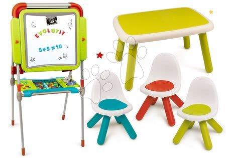 Set tabule na kreslení a magnetky Evolutive Board Smoby výškově polohovatelná oboustranná a stůl a tři židle Kid