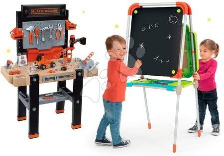 Set školní magnetická tabule Smoby výškově nastavitelná a pracovní dílna Black+Decker elektronická