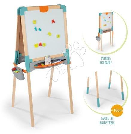 Kreativne i didaktičke igračke - Drvena obostrana ploča Wooden Easel Smoby magnetna/na krede sklopiva s 80 dodataka