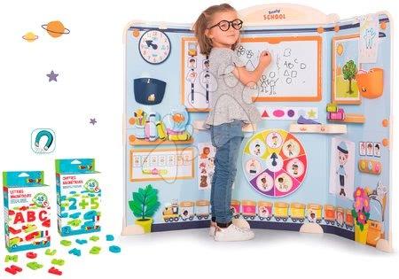 Kreativne i didaktičke igračke - Set škola za predškolce School Smoby Igra učitelja i učenika s rezervnim magnetićima 48 kom ABC i 48 kom brojeva