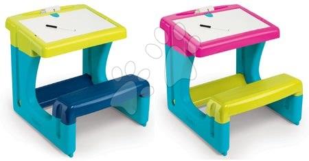 Set školní lavice Activity Smoby s oboustrannou tabulí a 8 doplňky modrá a růžová