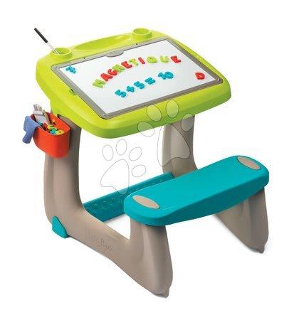 Kreativne i didaktičke igračke - Klupa za crtanje i magneti Little Pupils Desk Smoby s obostranom pločom i prostorom za odlaganje s 80 dodatka_1