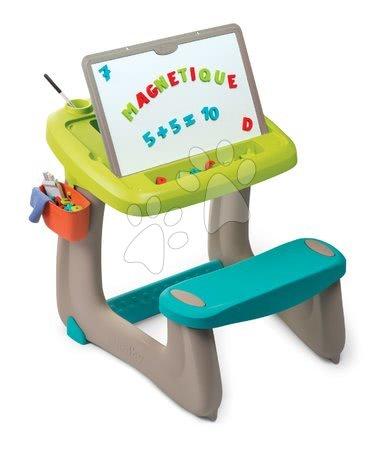Kreativne i didaktičke igračke - Klupa za crtanje i magneti Little Pupils Desk Smoby s obostranom pločom i prostorom za odlaganje s 80 dodatka