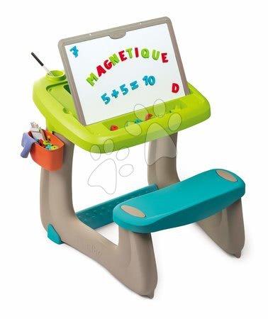 Lavice na kreslení a magnetky Little Pupils Desk Smoby s oboustrannou tabulí a úložným prostorem s 92 doplňky