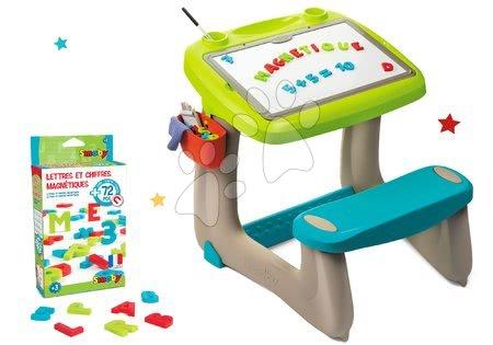 Set lavice na kreslení a magnetky Little Pupils Desk Smoby s oboustrannou tabulí a magnetická abeceda a čísla 72 kusů