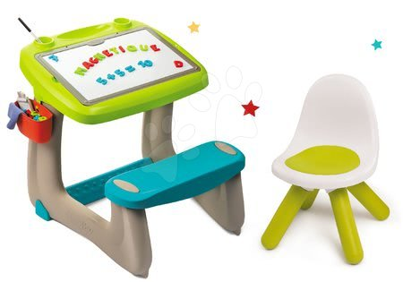 Set lavica na kreslenie a magnetky Little Pupils Desk Smoby s obojstrannou tabuľou a stolička Kid zelená SM420103-4