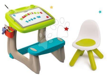 Kreativne i didaktičke igračke - Set klupa za crtanje i magneti Little Pupils Desk Smoby s obostranom pločom i stolac Kid zeleni