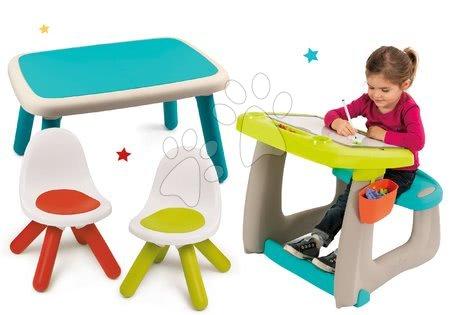 Set lavica na kreslenie a magnetky Little Pupils Desk Smoby s obojstrannou tabuľou a stôl s dvoma stoličkami Kid