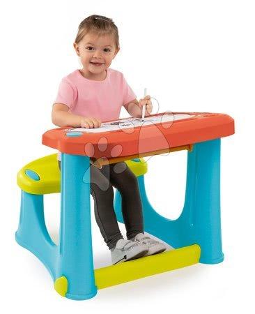 Kreativní a didaktické hračky - Lavice na kreslení Magic Desk Smoby Kresli a smaž se 4 odkládacími prostory a 12 doplňky od 24 měsíců_1