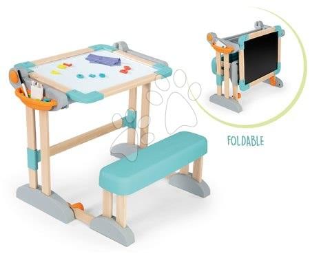 Kreativne i didaktičke igračke - Set drvena klupa Modulo Space sklopiva magnetna Smoby za kredu i Razigrana kuharica Chef s receptima i kalupima_1