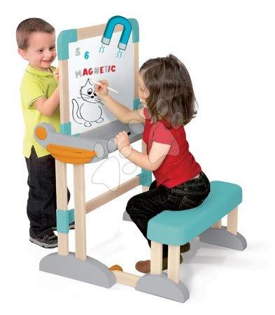 Kreativne i didaktičke igračke - Klupa za crtanje i pisanje Modulo Space Desk Smoby magnetna/na kredo obostrana s 80 dodacima