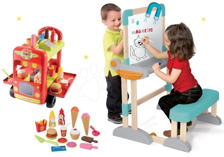 Kreativne i didaktičke igračke - Set drvena klupa Modulo Space s obostranom pločom Smoby i kolica sa sladoledom 100% Chef s hamburgerima