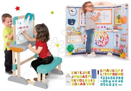 Set dřevěná lavice Modulo Space skládací magnetická Smoby na křídu a hra na školu učitel a žák s naučnými hrami