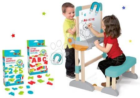 Kreativne i didaktičke igračke - Set drvena klupa Modulo Space sklopiva magnetna Smoby za kredu i magnetna slova, brojke i znakovi