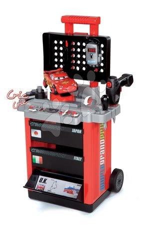 Cărucior de lucru Maşini 2 Pit Stop Smoby cu maşină mecanică de găurit, cu maşinuţă Fulger McQueen şi cu 25 de accesorii