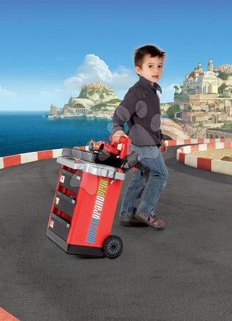 Pracovní dětská dílna - Pracovní vozík Auta 2 Pit Stop Smoby s mechanickou vrtačkou, autem McQueen a 25 doplňky_1