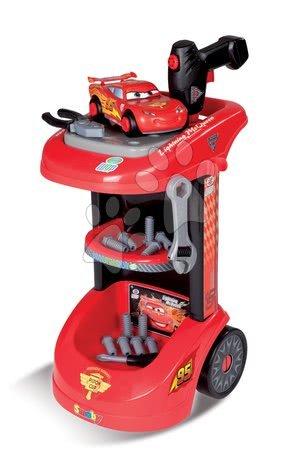 Pracovní dětská dílna - Pracovní vozík Auta Smoby s mechanickou vrtačkou, autem McQueen a 27 doplňky