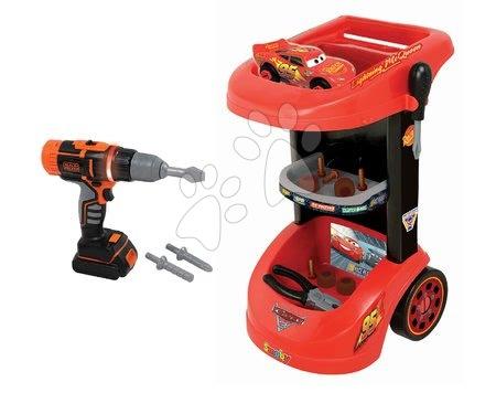 Pracovní dětská dílna - Pracovní vozík Auta Smoby s autem McQueen, mechanickou vrtačkou a 15 doplňky