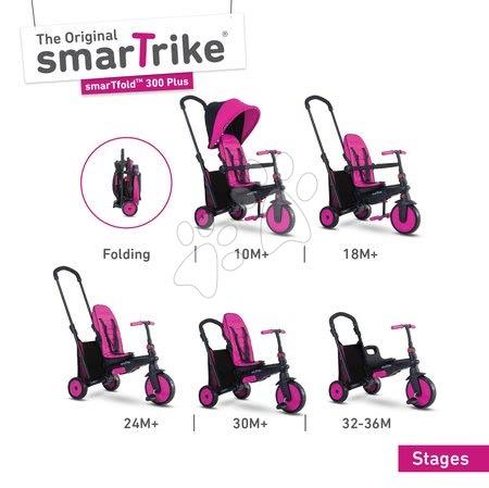 Tříkolka skládací smarTfold 6v1 smarTrike 300 Plus TouchSteering s EVA kolečky růžová od 10 měsíců