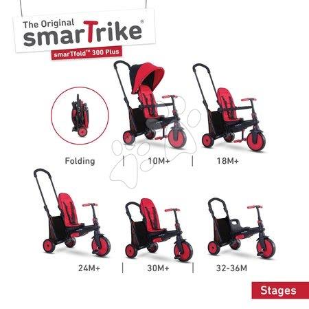 Tříkolka skládací smarTfold 6v1 smarTrike 300 Plus TouchSteering s EVA kolečky červená od 10 měsíců