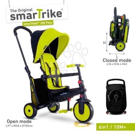 Tricikli - Tricikli összecsukható és dönthető smarTfold 6in1 smarTrike 300 Plus Green TouchSteering kompakt EVA kerekekkel 10 hó-tól