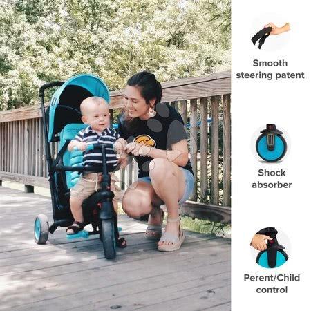 Tricikli - Tricikel zložljiv in preklopen smarTfold 6v1 smarTrike 300 Plus Blue TouchSteering kompakten z EVA kolesi od 10 mes_1