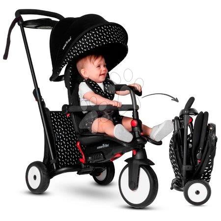 Tricicletă și cărucior pliabil STR5 Black&White 7în1 smarTrike cu scaun rabatabil TouchSteering și roți EVA de la 6 luni ST5052102
