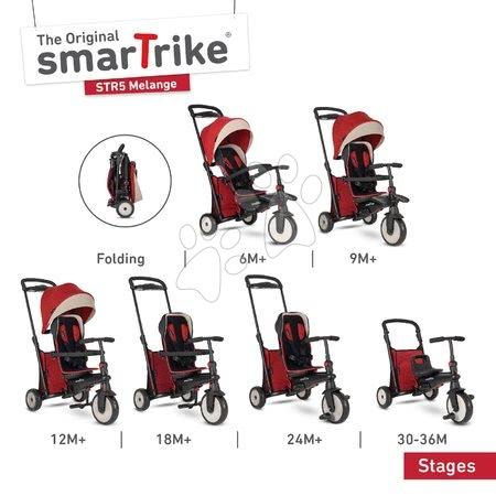 Tříkolky - Tříkolka skládací smarTfold 7v1 Stroller Melange smarTrike 500 TouchSteering červená polstrovaná s EVA koly od 9 měsíců jako kočárek_1