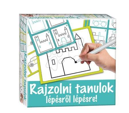 Tablă didactică pentru desenat Desenează pe ea şi sterge-o! Dohány turcoaz - Învăţ pas cu pas să desenez cetăţi şi vehicule