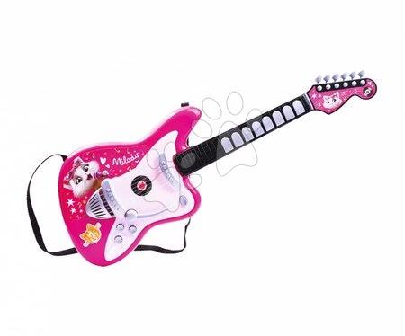 Hračky pre deti od 3 do 6 rokov - Basgitara elektronická 44 Cats Milady's Bassguitar Smoby ružová s množstvom svetelných a zvukových funkcií od 5 rokov