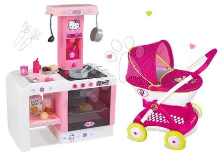 Set kočík pre bábiku Máša a medveď Smoby a kuchynka Hello Kitty Cheftronic so zvukmi od 18 mes