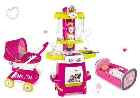 Set kočík pre bábiku Máša a medveď Smoby (55 cm rúčka), kuchynka Máša a kolíska pre bábiku od 18 mes