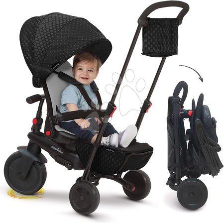 Tricicletă pliabilă smarTfold 700 Black 8în1 smarTrike negru, cu scaun rabatabil și înclinabil TouchSteering cu roți EVA de la 6 luni