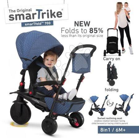 Tricicletă și cărucior pliabil STR7 Urban 8în1 smarTrike albastră cu scaun pliabil TouchSteering cu roți EVA de la 6 luni