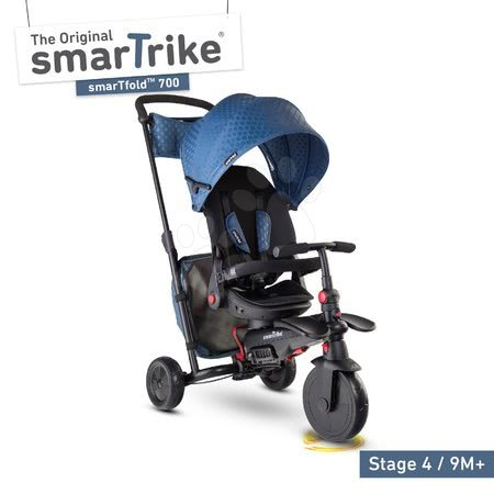 Tricikl i kolica sklopivi STR7 Urban 8u1 smarTrike plavi s rotirajućim kotačićima i podesivim sjedalom TouchSteering s EVA kotačićima od 6 mjes
