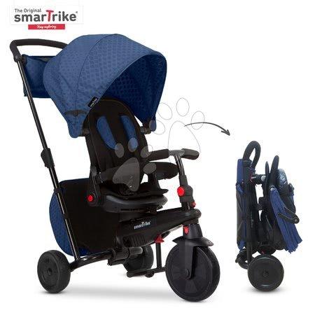 Trojkolka a kočík skladacia STR7 Urban 8v1 smarTrike modrá so sklápateľným sedadlom TouchSteering s EVA kolesami od 6 mes